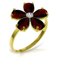 Genuine 2.22 ctw Garnet & Diamond Ring Jewelry 14KT Yellow Gold - REF-35P9H