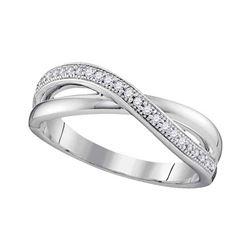 0.14 CTW Diamond Crossover Ring 10KT White Gold - REF-16K4W
