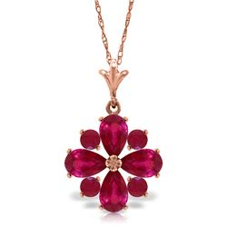Genuine 2.23 ctw Ruby Necklace Jewelry 14KT Rose Gold - REF-35A5K