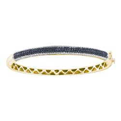 1.5 CTW Black Color Diamond Bangle Bracelet 14KT Yellow Gold - REF-149X9Y