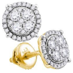 0.50 CTW Diamond Circle Cluster Earrings 10KT Yellow Gold - REF-37X5Y