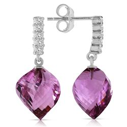 Genuine 21.65 ctw Amethyst & Diamond Earrings Jewelry 14KT White Gold - REF-56N3R