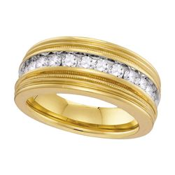 1 CTW Mens Diamond Milgrain Wedding Ring 10KT Yellow Gold - REF-89K9W