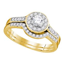 0.55 CTW Diamond Halo Bridal Engagement Ring 14KT Yellow Gold - REF-71K9W