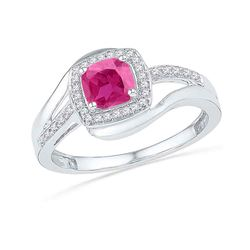 1.1 CTW Princess Created Pink Sapphire Solitaire Ring 10KT White Gold - REF-18N2F