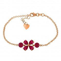 Genuine 3.15 ctw Ruby Bracelet Jewelry 14KT Rose Gold - REF-71M9T