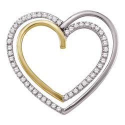 0.25 CTW Diamond Double Nested Heart Pendant 10KT Two-tone Gold - REF-19N4F