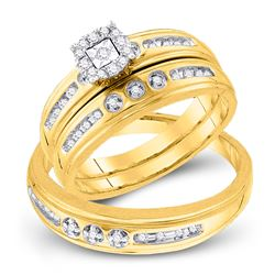 0.25 CTW His & Hers Diamond Solitaire Matching Bridal Ring 10KT Yellow Gold - REF-41W9K