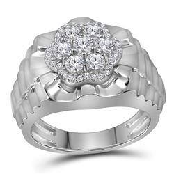 1 CTW Mens Diamond Flower Cluster Ribbed Ring 10KT White Gold - REF-131X2Y