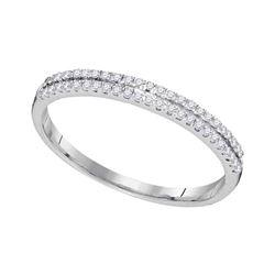 0.15 CTW Diamond Double Row Ring 10KT White Gold - REF-8W9K