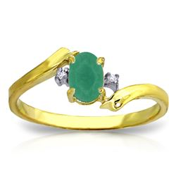 Genuine 0.51 ctw Emerald & Diamond Ring Jewelry 14KT Yellow Gold - REF-32M2T