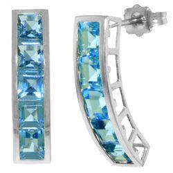 Genuine 4.5 ctw Blue Topaz Earrings Jewelry 14KT White Gold - REF-38P5H