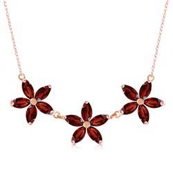 Genuine 4.2 ctw Garnet Necklace Jewelry 14KT Rose Gold - REF-60W7Y