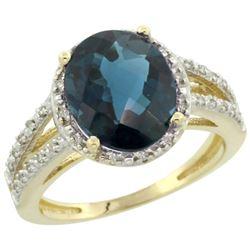 Natural 3.47 ctw London-blue-topaz & Diamond Engagement Ring 10K Yellow Gold - REF-35F9N