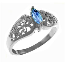 Genuine 0.20 CTW Blue Topaz Ring Jewelry 14KT White Gold - REF-47M2T
