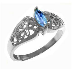 Genuine 0.20 CTW Blue Topaz Ring Jewelry 14KT White Gold - REF-47M2T