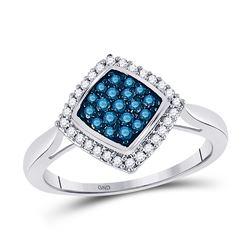 0.33 CTW Blue Color Diamond Diagonal Square Cluster Ring 10KT White Gold - REF-19M4H
