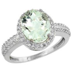 Natural 2.56 ctw Green-amethyst & Diamond Engagement Ring 14K White Gold - REF-42W2K