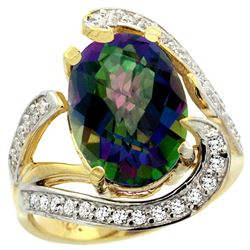 Natural 6.22 ctw mystic-topaz & Diamond Engagement Ring 14K Yellow Gold - REF-134A9V