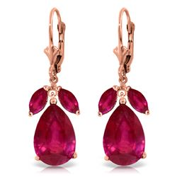 Genuine 11 ctw Ruby Earrings Jewelry 14KT Rose Gold - REF-97K2V