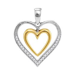0.15 CTW Diamond Dangling Nested Heart Love Pendant 10KT Two-tone Gold - REF-18H2M
