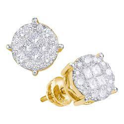 0.50 CTW Princess Diamond Soleil Cluster Earrings 14KT Yellow Gold - REF-52K4W