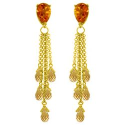 Genuine 15.5 ctw Citrine Earrings Jewelry 14KT Yellow Gold - REF-51V8W