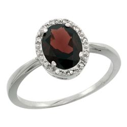 Natural 1.22 ctw Garnet & Diamond Engagement Ring 10K White Gold - REF-20G9M