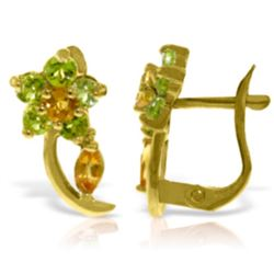 Genuine 1.72 ctw Citrine & Peridot Earrings Jewelry 14KT Rose Gold - REF-40P5H