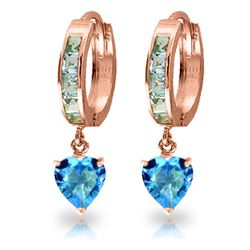 Genuine 4.1 ctw Blue Topaz Earrings Jewelry 14KT Rose Gold - REF-52Y2F