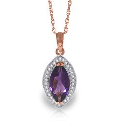 Genuine 1.80 ctw Amethyst & Diamond Necklace Jewelry 14KT Rose Gold - REF-61F6Z