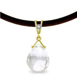 Genuine 6.51 ctw White Topaz & Diamond Necklace Jewelry 14KT Yellow Gold - REF-26N9R