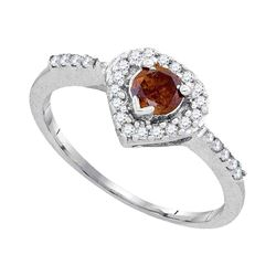 0.50 CTW Brown Color Diamond Heart Ring 10KT White Gold - REF-40M4H