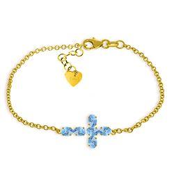 Genuine 1.70 ctw Blue Topaz Bracelet Jewelry 14KT Yellow Gold - REF-59P8H