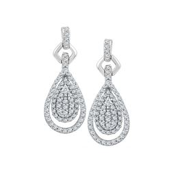 0.50 CTW Diamond Teardrop Dangle Earrings 10KT White Gold - REF-40H4M