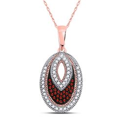 0.20 CTW Red Color Diamond Oval Pendant 10KT Rose Gold - REF-19F4N