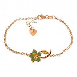 Genuine 0.87 ctw Citrine & Peridot Bracelet Jewelry 14KT Rose Gold - REF-50A5K
