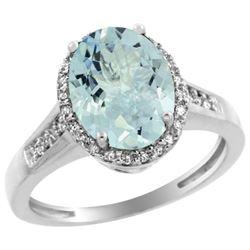 Natural 2.49 ctw Aquamarine & Diamond Engagement Ring 14K White Gold - REF-52X2A