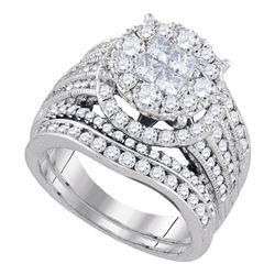 2.52 CTW Princess Diamond Soleil Bridal Engagement Ring 14KT White Gold - REF-299W9K