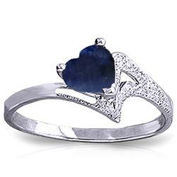 Genuine 1 ctw Sapphire Ring Jewelry 14KT White Gold - REF-43M2T