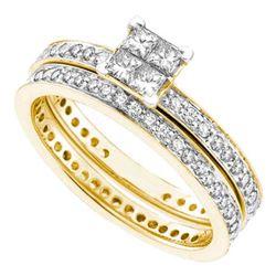 1 CTW Princess Diamond Eternity Bridal Engagement Ring 14KT Yellow Gold - REF-97N4F