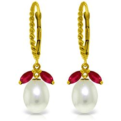 Genuine 9 ctw Ruby & Pearl Earrings Jewelry 14KT Yellow Gold - REF-41P4H