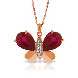 Genuine 10.60 ctw Ruby & Diamond Necklace Jewelry 14KT Rose Gold - REF-181W9Y