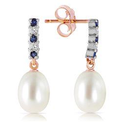 Genuine 8.3 ctw Sapphire, Pearl & Diamond Earrings Jewelry 14KT Rose Gold - REF-28W8Y