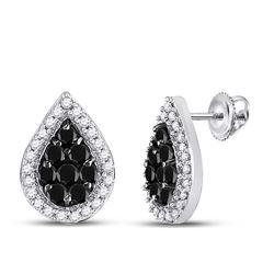 0.55 CTW Black Color Diamond Teardrop Cluster Stud Earrings 10KT White Gold - REF-22K4W