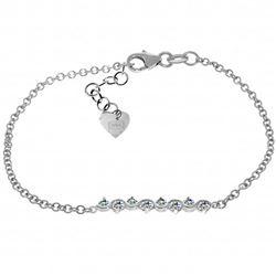 Genuine 1.55 ctw Aquamarine Bracelet Jewelry 14KT White Gold - REF-56F4Z