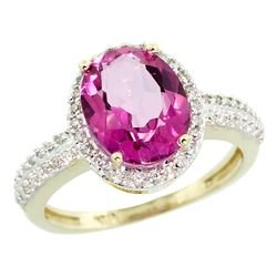 Natural 2.56 ctw Pink-topaz & Diamond Engagement Ring 14K Yellow Gold - REF-42Y2X