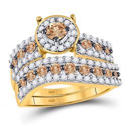 1.72 CTW Cognac-brown Color Diamond Bridal Ring 10KT Yellow Gold - REF-67W4K