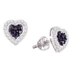0.33 CTW Black Color Diamond Heart Screwback Earrings 10KT White Gold - REF-26X9Y