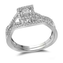 0.37 CTW Princess Diamond Bridal Engagement Ring 14KT White Gold - REF-48M7H